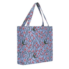 Almond Blossom and Swallow Gusset Bag | Floral Tapestry Foldable Bag | GUSS-BLOS