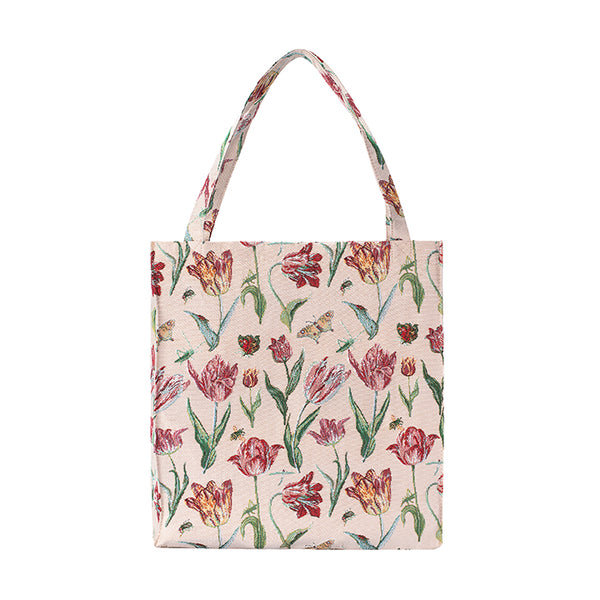 Marrel's Tulip White Gusset Bag | Tapestry Foldable Bag | GUSS-JMTWT
