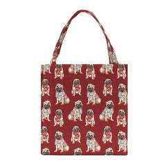 Pug Gusset Bag | Red Foldable Shopping Bag | GUSS-PUG