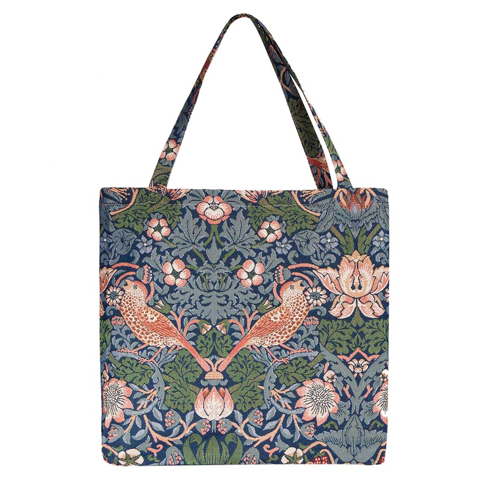 Strawberry Thief Blue Gusset Bag | Womens Tapestry Foldable Bag | GUSS-STBL