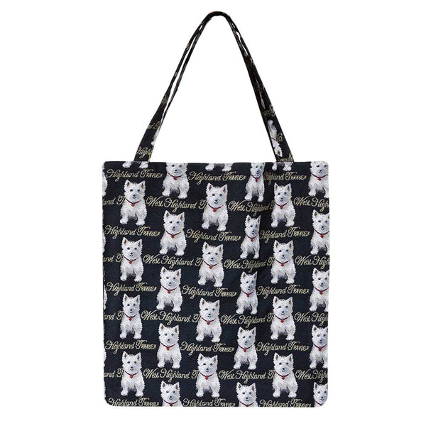 Westie Gusset Bag | Black Foldable Shopping Bag | GUSS-WES
