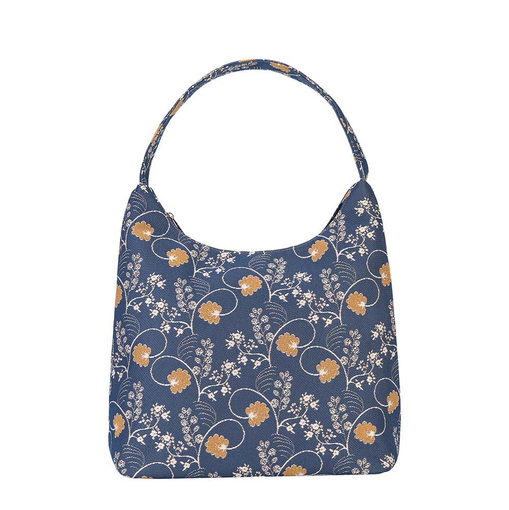 Jane Austen Blue Hobo Bag | Forest Flowers Oak Design Large Shoulder Bags for Women | HOBO-AUST