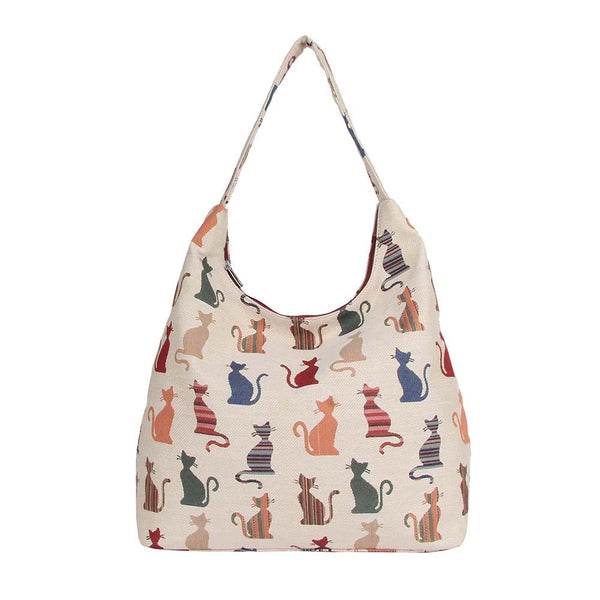 Cheeky Cat Hobo Bag | Tapestry Womens Large Shoulder Bag | HOBO-CHEKY