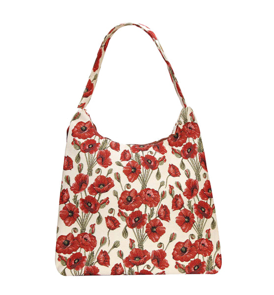 Poppy Hobo Bag | Floral Tapestry Large Shoulder Bag | HOBO-POP