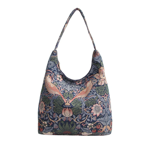 William Morris Strawberry Thief Blue Hobo Bag | Tapestry Art Large Shoulder Bag | HOBO-STBL