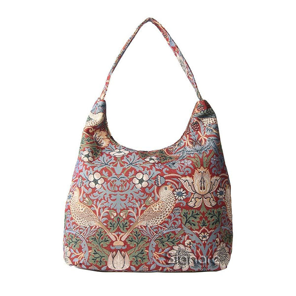 William Morris Strawberry Thief Red Hobo Bag | Tapestry Art Large Shoulder Bag | HOBO-STRD
