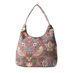William Morris Strawberry Thief Red Hobo Bag | Ladies Large Shoulder Bag | HOBO-STRD