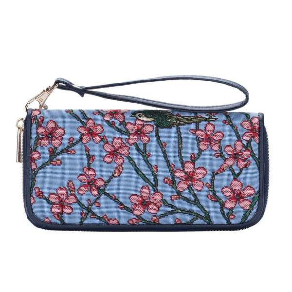 Almond Blossom and Swallow Long Zip Around Purse | Floral Tapestry RFID Purse | LZIP-BLOS