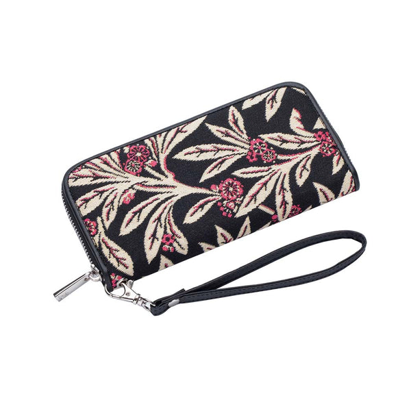 Golden Fern Long Zip Around Purse | Black RFID Ladies Purse | LZIP-GFERN