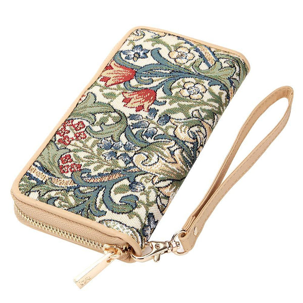 William Morris Golden Lily Long Zip Round Wallet | Designer Art Tapesrty RFID Purse | LZIP-GLILY
