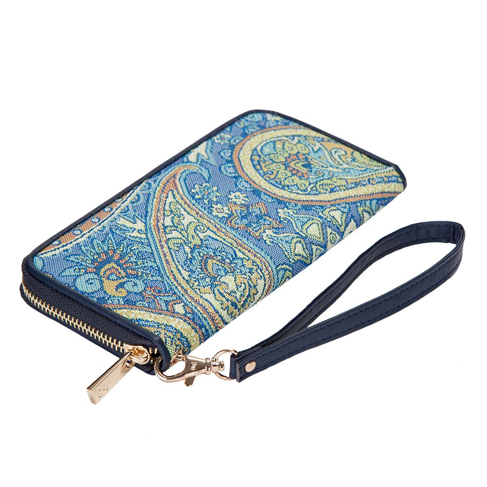 Paisley Long Zip Round Purse | Blue Tapestry RFID Ladies Purse | LZIP-PAIS