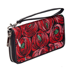Mackintosh Rose and Teardrop Long Zip Round Wallet | Red Floral RFID Security Purse | LZIP-RMTD
