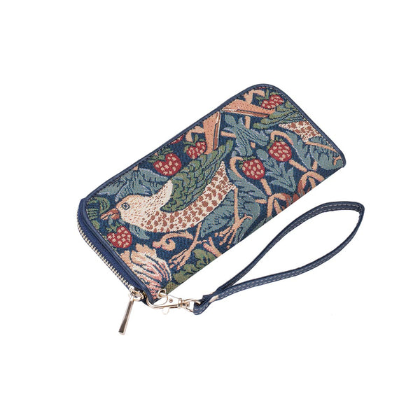 Strawberry Thief Blue Long Zip Round Purse | Floral RFID Purse | LZIP-STBL