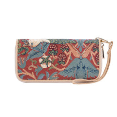Strawberry Thief Red Long Zip Round Purse | Floral RFID Purse | LZIP-STRD