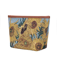 Vincent Van Gogh Artwork Art Makeup Bag | Floral Beauty Bag | Sunflowers - MAKEUP-ART-VG-SUNF