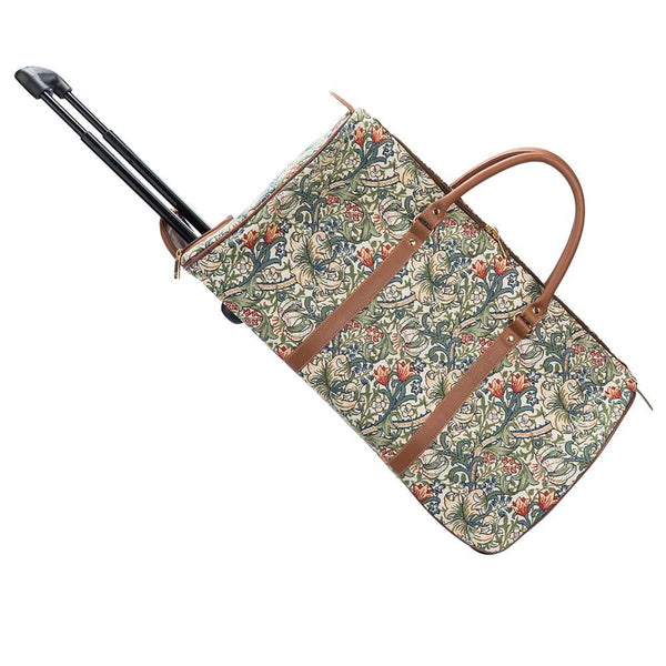 William Morris Art Golden Lily Pull Holdall | Floral Lightweight Wheeled Luggage | PULL-GLILY