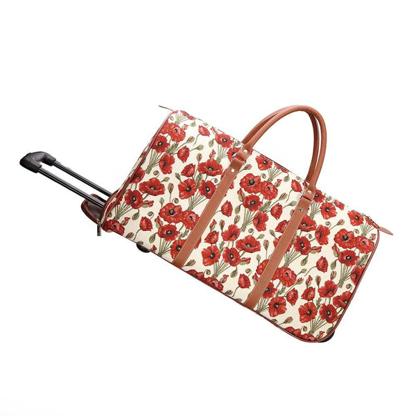 Poppy Pull Holdall | Floral Weeled Travel Trip Weekend Sports Luggage | PULL-POP