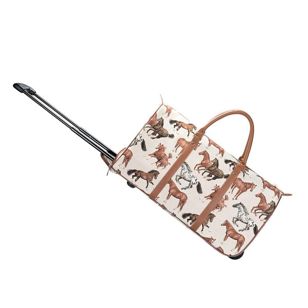 Running Horse Art Pull Holdall | Fashion Tapestry Ladies Holdall With Wheels | PULL-RHOR