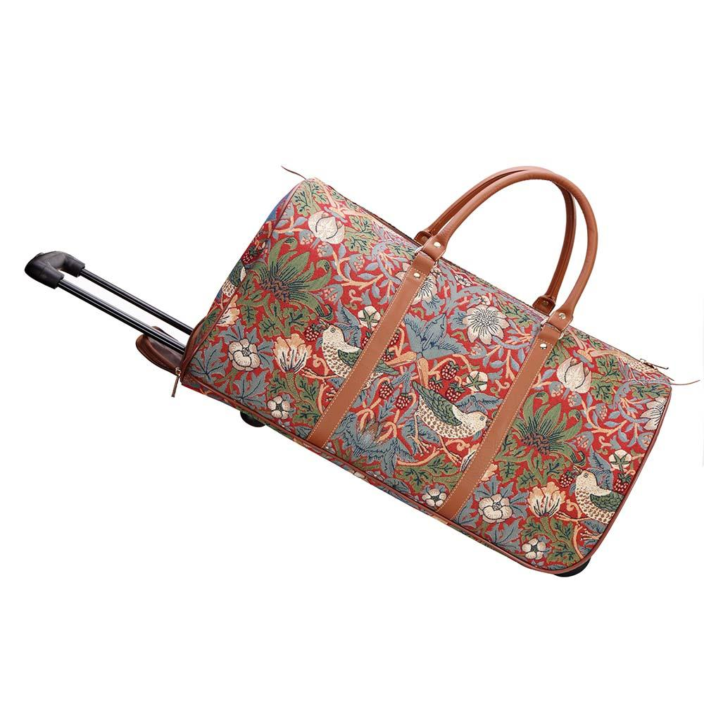 William Morris Strawberry Thief Red Pull Holdall | Tapestry Wheeled Holdall | PULL-STRD