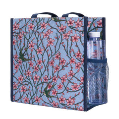 Almond Blossom and Swallow Shopper Bag | Floral Tapestry Foldable Tote | SHOP-BLOS
