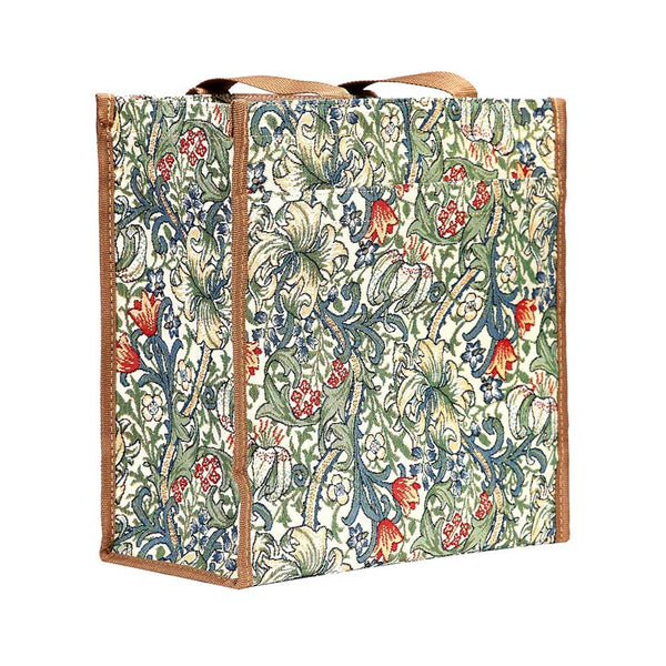 William Morris Golden Lily Shopper Bag | Designer Art Reusable Floral Tapestry Tote | SHOP-GLILY