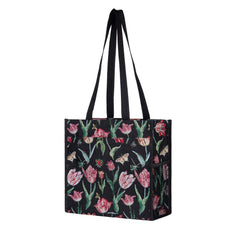 Marrel's Tulip Black Shopper Bag | Black Tapestry Shoulder Bag | SHOP-JMTBK