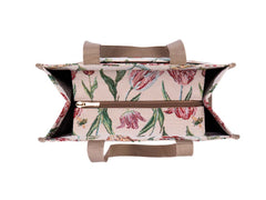 Marrel's Tulip White Shopper Bag | Floral Tapestry Shoulder Bag | SHOP-JMTWT
