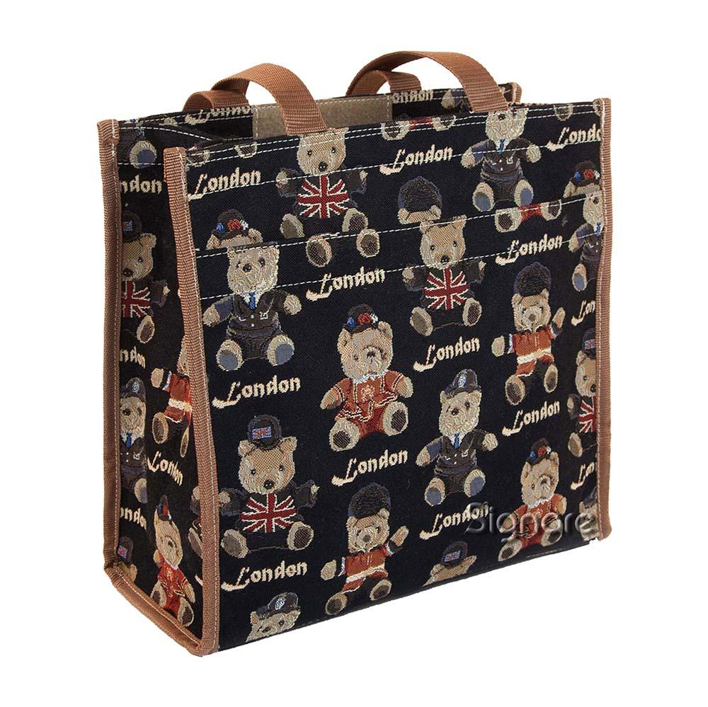 London Bear Shopper Bag | Black Tapestry Foldable Shopping Bag | SHOP-LNBE