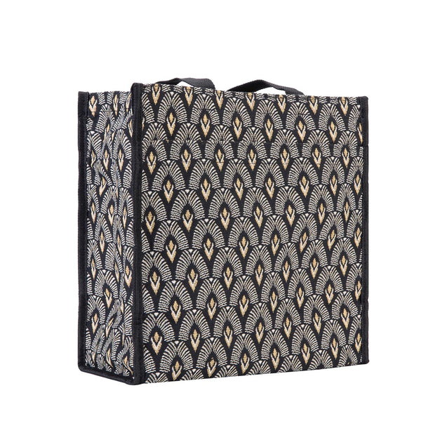 Luxor Shopper Bag | Black Tapestry Shoulder Bag | SHOP-LUXOR