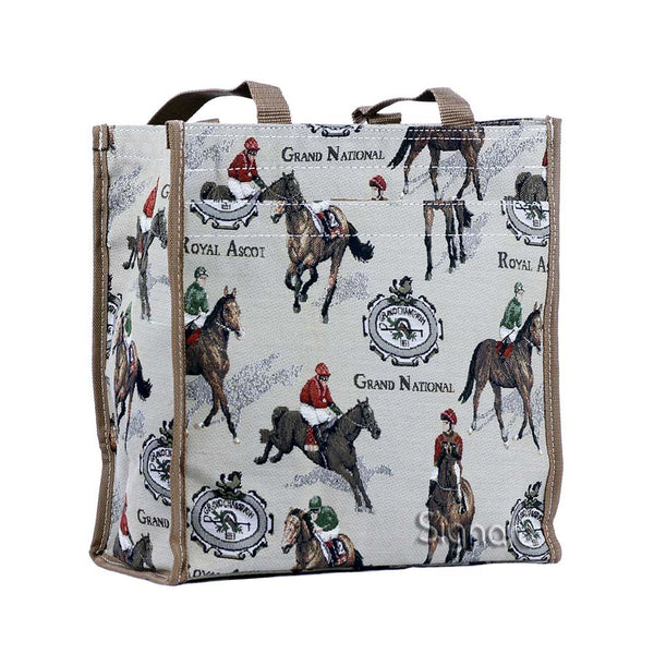 Racing Shopper Bag | Horse Tapestry Shoulder Bag | SHOP-RAC