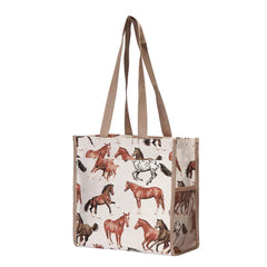 Running Horse Shopper Bag | Ladies Fashion Elegant Shopping Reusable Green Tote | SHOP-RHOR