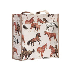 Running Horse Shopper Bag | Brown Tapestry Shoulder Bag | SHOP-RHOR