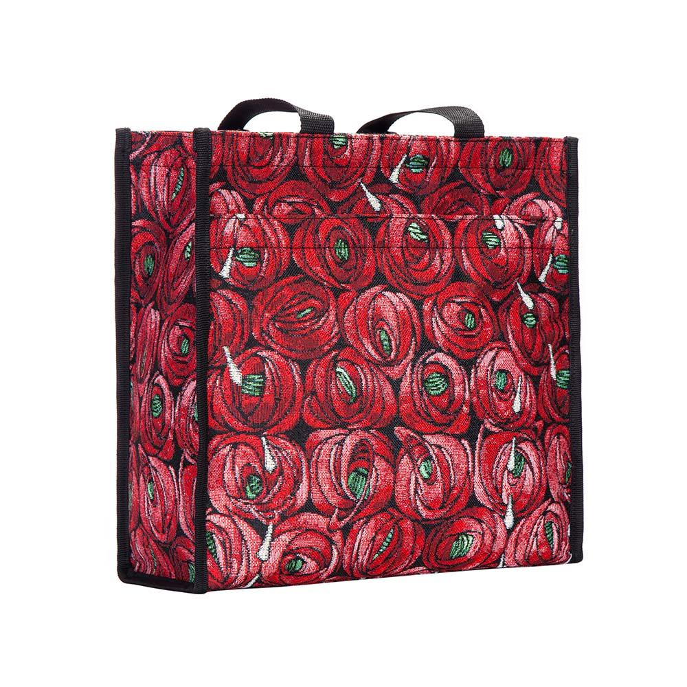 Mackintosh Rose and Teardrop Shopper Bag | Red Tapestry Shoulder Bag | SHOP-RMTD