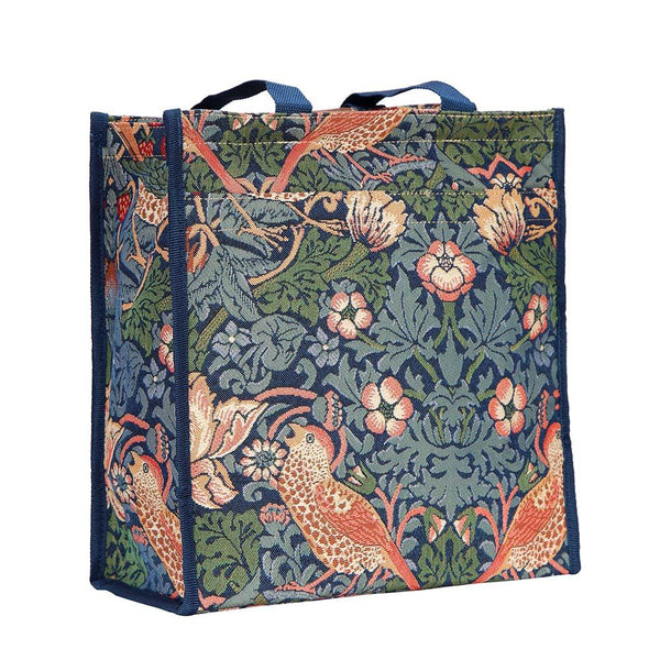 William Morris Strawberry Thief Blue Shopper Bag | Artist Unique Reusable Grocery Tote | SHOP-STBL