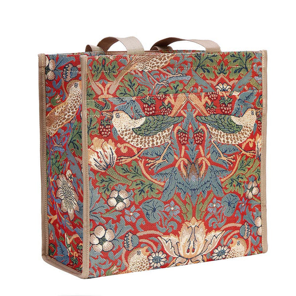 William Morris Strawberry Thief Red Shopper Bag | Artist Floral Unusual Grocery Tote | SHOP-STRD
