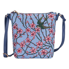 Almond Blossom and Swallow Sling Bag | Floral Tapestry Fabric Cross Body Bag | SLING-BLOS