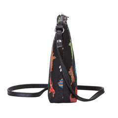 Playful Puppy Sling Bag | Black Tapestry Crossbody Bag | SLING-PUPPY
