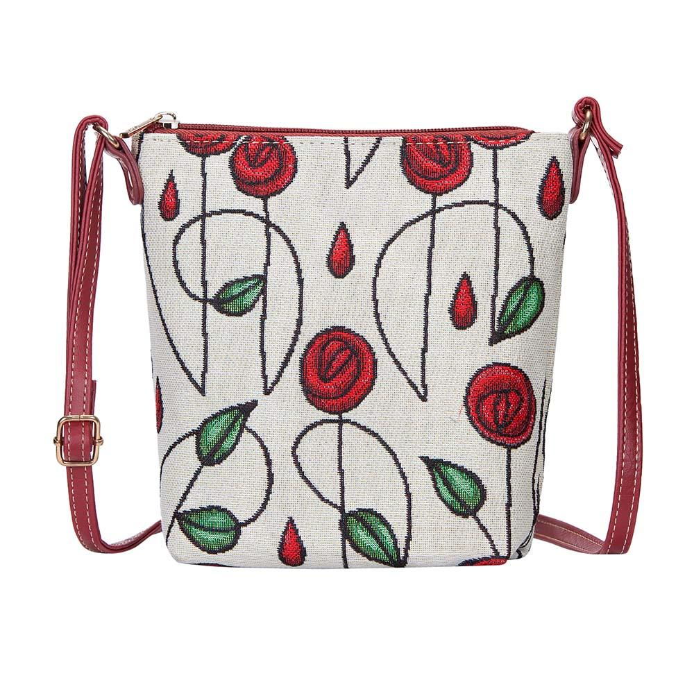 Mackintosh Rose Sling Bag | Designer Floral Branded Art Long-Strap Handbag | SLING-RMSP
