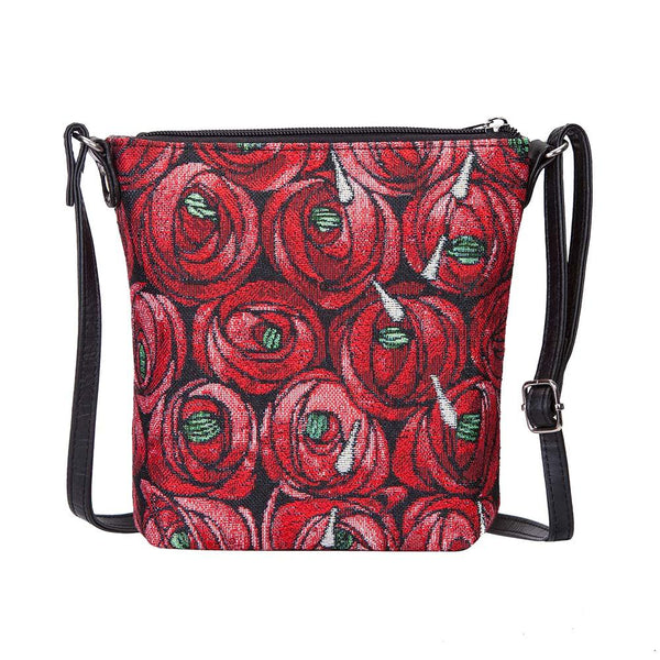 Mackintosh Rose and Teardrop Sling Bag | Red Tapestry Shoulder Bag | SLING-RMTD