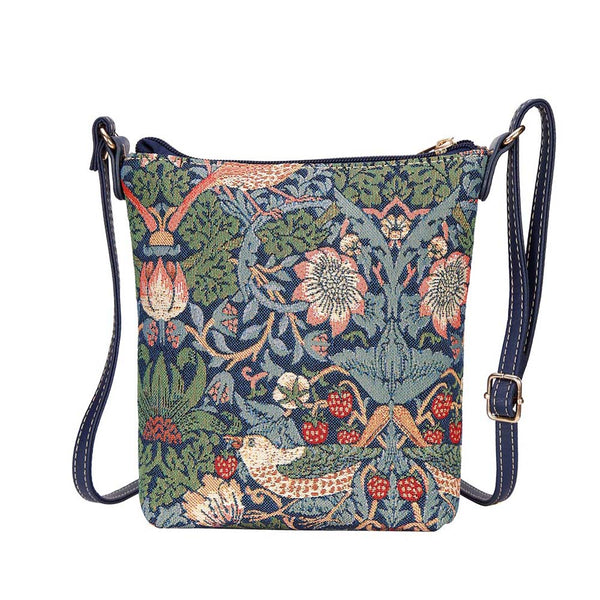 William Morris Strawberry Thief Blue Sling Bag | Art Fabric Shoulder Strap Handbag | SLING-STBL