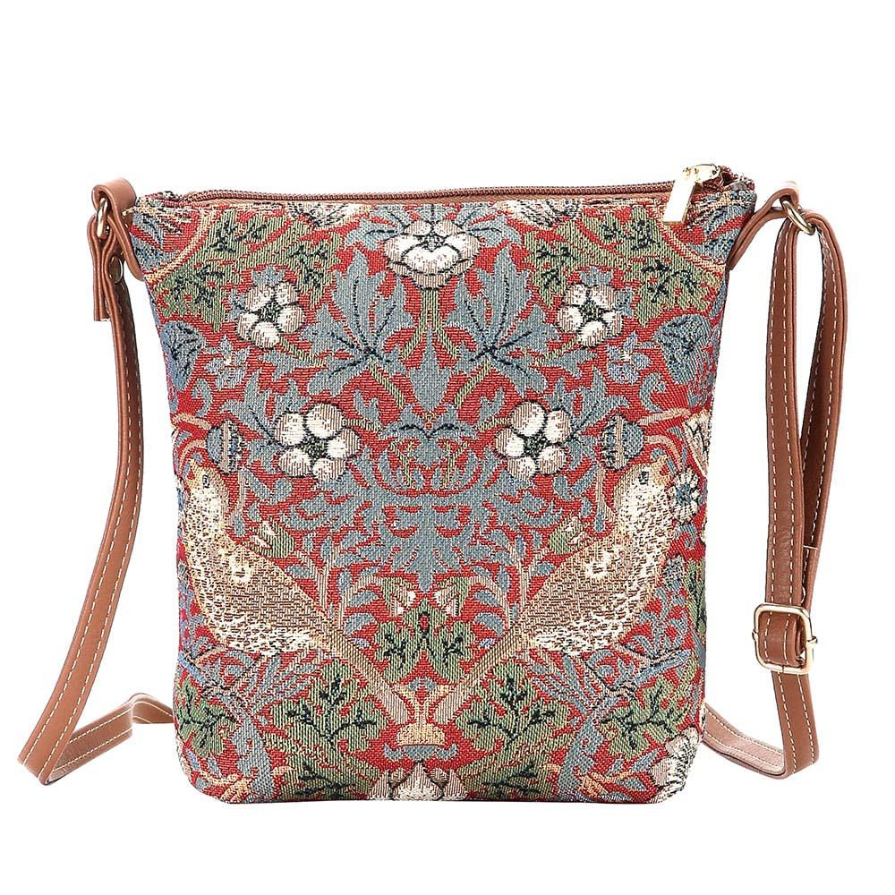 William Morris Strawberry Thief Red Sling Bag | Cross Shoulder Bag | SLING-STRD