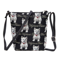 Westie Sling Bag | Tapestry Black Crossbody Bag | SLING-WES