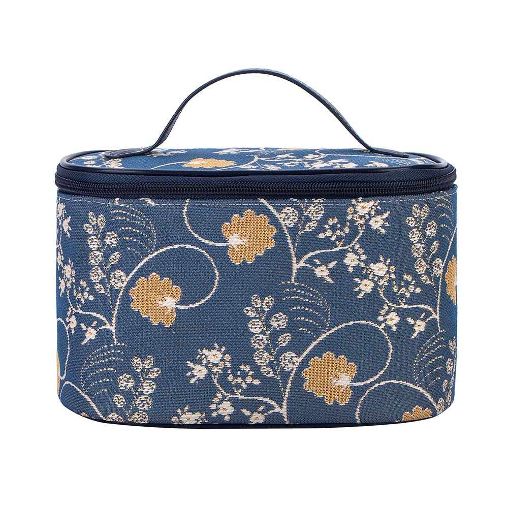 Jane Austen Blue Makeup Bag | Blue Floral Womens Makeup Bag | TOIL-AUST