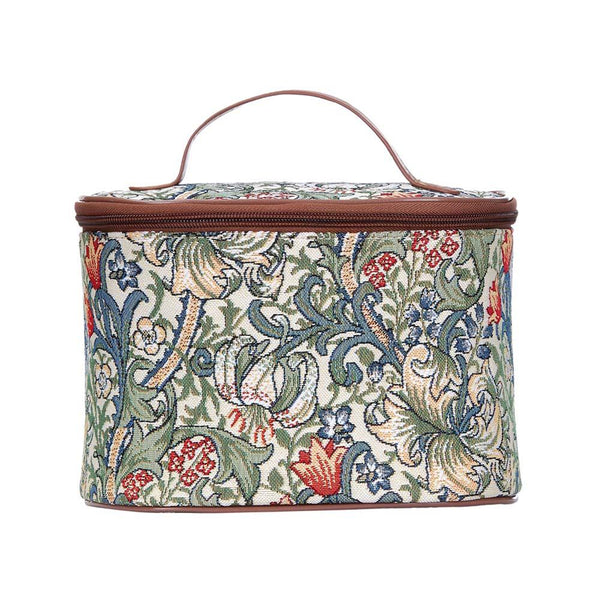William Morris Golden Lily Makeup Bag | Designer Art Floral Beauty Toiletry Makeup Case | TOIL-GLILY