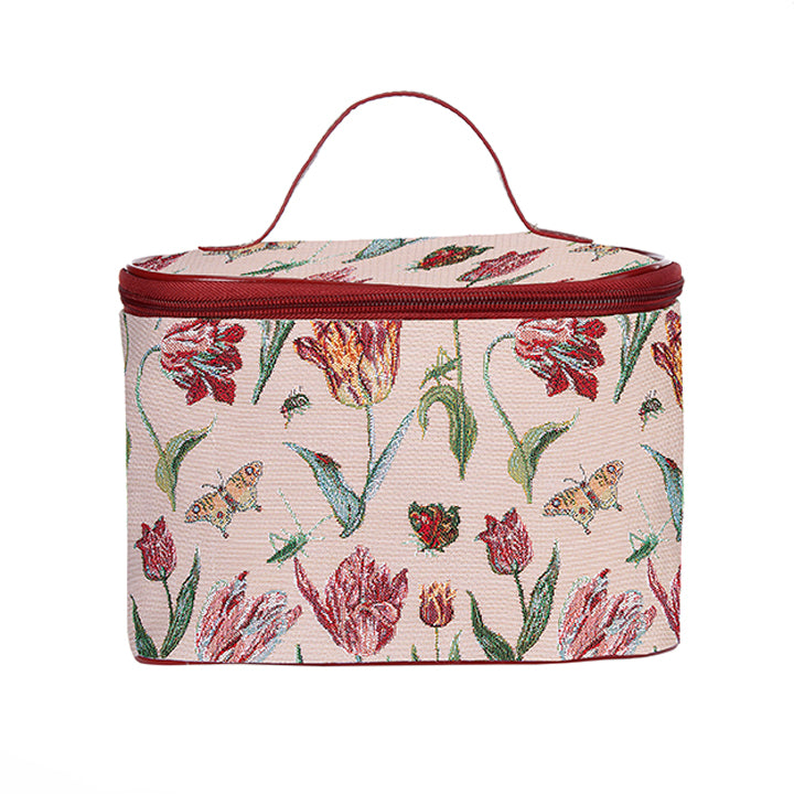 Marrel's Tulip White Makeup Bag | Womens Floral Makeup Bag | TOIL-JMTWT