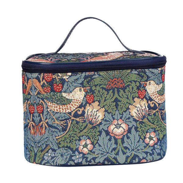William Morris Strawberry Thief Blue Makeup Bag | Floral Makeup Bag | TOIL-STBL