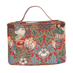 William Morris Strawberry Thief Red Makeup Bag | Floral Makeup Bag | TOIL-STRD