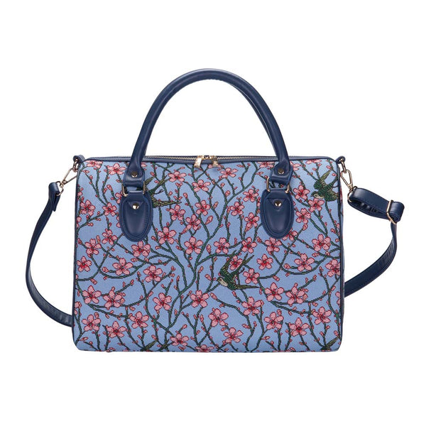 Almond Blossom and Swallow Travel Bag | Floral Tapestry Weekend Bag | TRAV-BLOS