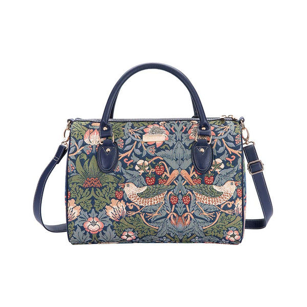 William Morris Strawberry Thief Blue Travel Bag | Designer Sports Trip Hand-Luggage | TRAV-STBL