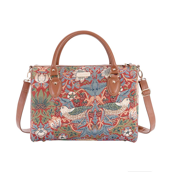 William Morris Strawberry Thief Red Travel Bag | Red Hand Luggage Travel | TRAV-STRD